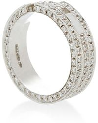Maison Dauphin - White Gold Asymmetric Three Band Ring - Lyst