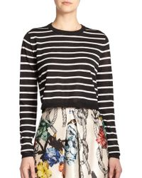 Tibi Cropped Striped Sweater - Lyst
