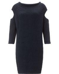 Paper London Navy Cotton Knit V Back Dress  - Lyst