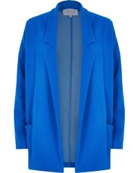 River Island Blue Relaxed Fit Jersey Twill Jacket - Lyst