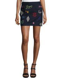 Stella McCartney Monogram-Embroidered Wool Miniskirt - Lyst