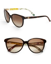 Gucci Floral 55Mm Round Sunglasses brown - Lyst