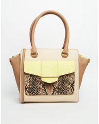 Aldo Sans Tote With Flared Gussets And Python Pocket Detail - Lyst