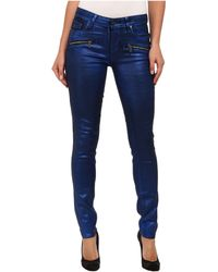 Paige Indio Zip Ultra Skinny in Blue Galaxy Coating - Lyst