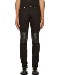 Versace Black Leather_trimmed Jeans - Lyst