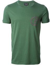 Giorgio Armani Embroidered Logo T-shirt - Lyst
