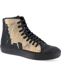 Acne Studios Adrian Camo Hitop Trainers Brown - Lyst