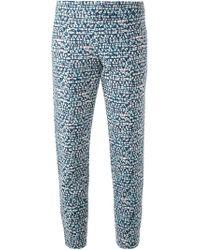 Tory Burch Tonal Print Cropped Trousers - Lyst