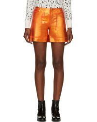Maison Martin Margiela Orange Distressed Metallic Denim Shorts - Lyst