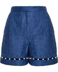 Adam Selman Pearl Embellished Linen Shorts - Lyst