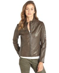 DKNY Mushroom Leather 'Mara' Zip Front Moto Jacket - Lyst