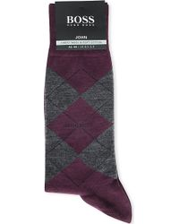 Hugo Boss Soft Cotton Argyle Socks Purple - Lyst