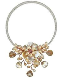 Aeravida | Pretty Pink Mop Flower Ray Choker Wrap Necklace | Lyst