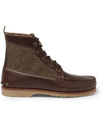 Quoddy - Tweed-Paneled Leather Chukka Boots - Lyst