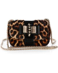 Christian Louboutin Sweet Charity Spotted Calf Hair & Patent Leather Flap Bag - Lyst