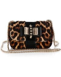 Christian Louboutin Sweet Charity Spotted Calf Hair & Patent Leather Flap Bag animal - Lyst
