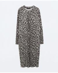 Zara Printed Velour Dress - Lyst