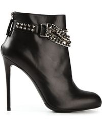 Gianmarco Lorenzi Chain Embellished Stiletto Ankle Boots - Lyst