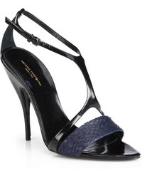 Narciso Rodriguez Mixed Media Cage Sandals - Lyst
