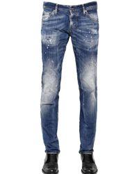 DSquared2 18cm Pink Paint Wash Stretch Denim Jeans - Lyst