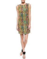 M Missoni Sleeveless Print Silk Shift Dress - Lyst