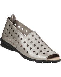 Arche Drick Open Toe Wedge Pewter Leather - Lyst