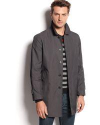 Calvin Klein Black Singlebreasted Raincoat - Lyst