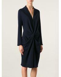 Lanvin Draped Sweater Dress - Lyst