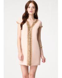 Bebe Beaded Silk Shift Dress - Lyst