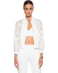 Lover Poppy Bomber Jacket white - Lyst