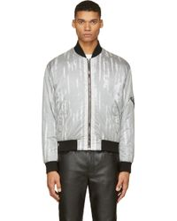 McQ by Alexander McQueen Grey and Black Nylon Layered Bomber Jacket - Lyst