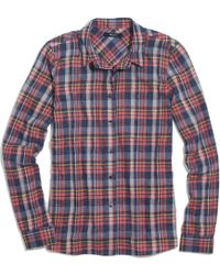 Madewell Flannel Plaid Boyshirt In Rose Tartan - Lyst