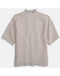 Coach Dot Ruffle Neck T-shirt - Lyst