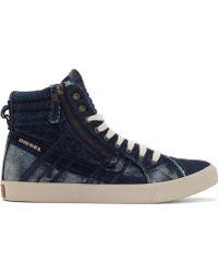 Diesel Indigo Denim D_String High_Top Sneakers - Lyst