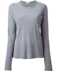 James Perse Long Sleeve Slub Knit T-shirt - Lyst