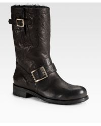 Jimmy Choo 247 Biker Leather Boots - Lyst