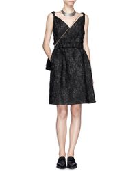 Lanvin Shiny Brocade Twist Strap Dress - Lyst