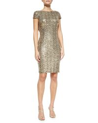 Badgley Mischka Collection Cowl-Back Sequined Cocktail Dress - Lyst