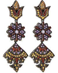 M.c.l  Matthew Campbell Laurenza - Long Flower/kite Earrings With Enamel - Lyst