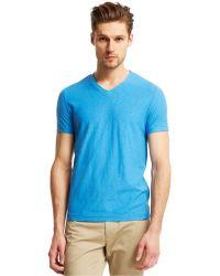 Kenneth Cole Reaction Slub V-Neck T-Shirt blue - Lyst