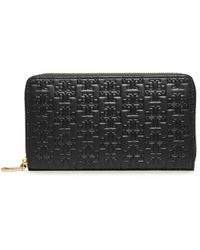 Tory Burch Embossed-'T' Zip Continental Wallet - Lyst