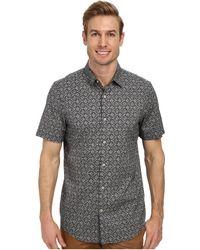 Perry Ellis Slim Fit Floral On Mini Stripe Shirt - Lyst