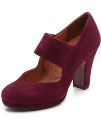 Chie Mihara Cantos Suede Mary Jane Pumps Burgundy - Lyst