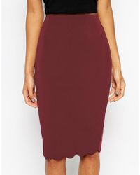 Asos Pencil Skirt With Scallop Hem - Lyst