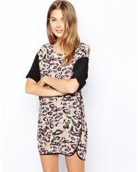 See U Soon Leopard Print Shift Dress with Curved Hem - Lyst