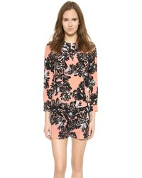Rebecca Taylor Splashy Flower Printed Top - Woodrose - Lyst