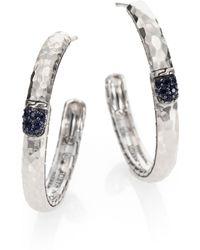 John Hardy Pave Black Sapphire Sterling Silver Hammered Lava Hoop Earrings2 - Lyst