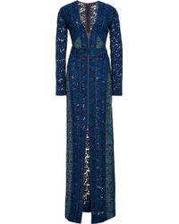 J. Mendel Floral Lace Bi-color Gown - Lyst