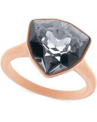 Swarovski Rose Goldtone Hematite Trillion Stone Ring - Lyst