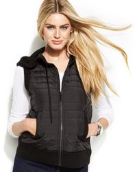 Michael Kors Michael Petite Mixed-media Quilted Vest - Lyst